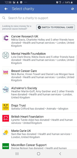 Rank higher in the list of charities on Facebook